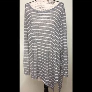 Lane Bryant silver & white striped tunic  sz 22-24